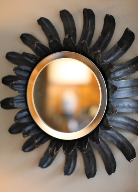 mirror, iron, black, vintage
