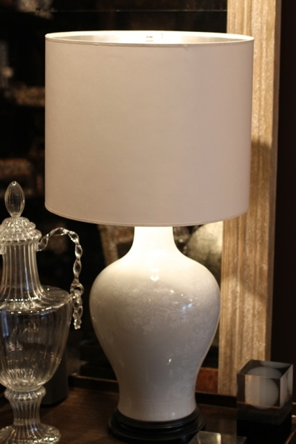 vintage, lamp, white, porcelain